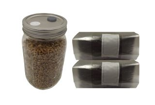 Sterilized Rye Berry Quart Jar and 2 X one pound Bags of Manure Based Substrate